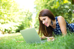 Laptop in the park Stock Photos
