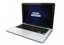 Laptop password isolated Royalty Free Stock Images