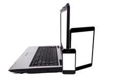 Laptop, pastylka komputer I telefon komórkowy Odizolowywający, Zdjęcia Royalty Free