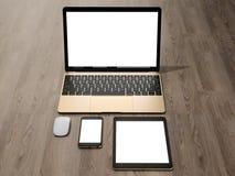 Laptop, pastylka, telefon, wszystko w jeden miejscu ilustracja wektor