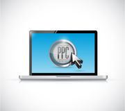 Laptop with pay per click button. ppc concept Royalty Free Stock Photography