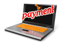 Laptop and payment (clipping path included) Stock Images