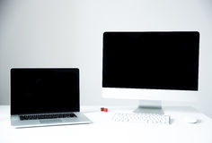 Laptop with PC on the desk in office Royalty Free Stock Photos