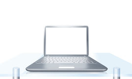Laptop PC on glass table isolated. Modern laptop PC on glass table isolated on white background Stock Photography