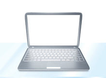 Laptop PC on glass table isolated. Modern laptop PC on glass table isolated on white background Stock Images