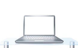Laptop PC on glass table isolated. Modern laptop PC on glass table isolated on white background Royalty Free Stock Photography