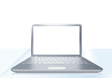 Laptop PC on glass table. Modern laptop PC on glass table  on white background Royalty Free Stock Photo