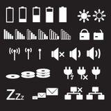 Laptop and pc indication status white icons eps10. Laptop and pc indication status white icons Royalty Free Stock Image