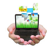 Laptop PC and streaming images stock photo
