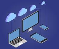 Laptop, PC, Tablette, Telefon, 3D isometrisch, Wolke 1 Stockfotografie