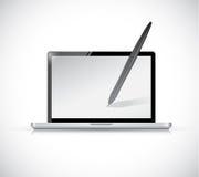 Laptop and pen illustration design Stock Photos