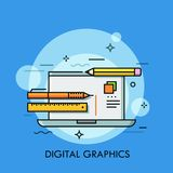Laptop, pen, pencil and ruler. Concept of graphic, web and digital design software, techniques and tools, illustrator or. Designer equipment. Modern vector stock illustration