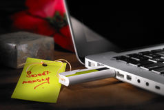 Laptop with pendrive. Transfer of sweet memory data from USB flash drive to laptop Stock Photos