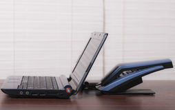 Laptop and phone Stock Image