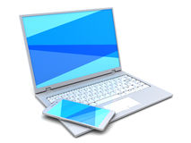 Laptop and phone Royalty Free Stock Image