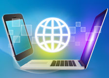Laptop and phone with globe icon on a blue Royalty Free Stock Photos