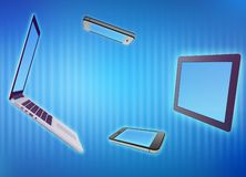 Laptop, phone, tablet on an abstract background. Laptop, phone, tablet on an abstract background Stock Photography