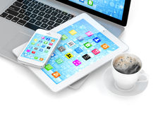 Laptop, phone and tablet pc Stock Image