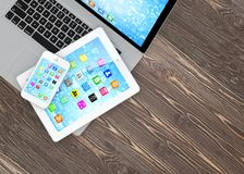 Laptop, phone and tablet pc Royalty Free Stock Photo