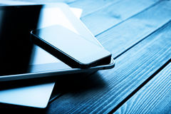 Laptop with phone and tablet pc Royalty Free Stock Photography