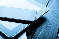Laptop with phone and tablet pc Royalty Free Stock Images