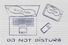 Laptop, phone & tablet with snooze mode eye mask: do not disturb Stock Images