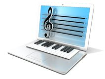 Laptop with piano keyboard. Concept of computer, digitally generated music. Laptop with piano keyboard. 3D rendering - concept of computer, digitally generated Royalty Free Stock Photography