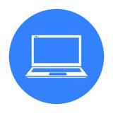 Laptop pictogram in zwarte die stijl op witte achtergrond wordt geïsoleerd De voorraad vectorillustratie van het personal compute vector illustratie