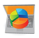 Laptop and pie-chart Royalty Free Stock Photo