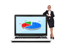 Laptop with pie chart Royalty Free Stock Photography
