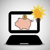 Laptop piggy money bulb light Stock Photography