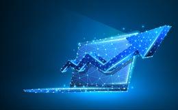 Laptop, pijl omhoog, notitieboekjesymbool Apparaat, de groei, succesconcept Digitale samenvatting, wireframe, laag polynetwerk, v vector illustratie