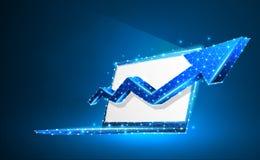 Laptop, pijl omhoog, notitieboekjesymbool Het witte scherm Apparaat, de groei, succesconcept Digitale samenvatting, wireframe, la stock illustratie