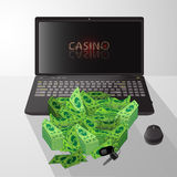 Laptop and pile of dollars casino winnings royalty free illustration