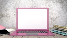 Laptop pink color with notebook and smartphone Royalty Free Stock Photos