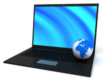 Laptop and planet Royalty Free Stock Photos