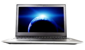 Laptop with planet on screen, Royalty Free Stock Images