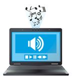 Laptop plays a tune. Computer display works music player Stock Photography