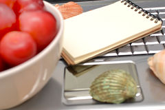 Laptop, plums and shells Royalty Free Stock Images