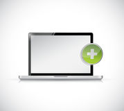 Laptop and plus button illustration design Royalty Free Stock Photos