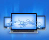 Laptop and points located on world map connected Stock Photo