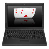 Laptop and poker aces Royalty Free Stock Photography
