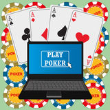 Laptop with the poker application on the screen Royalty Free Stock Image