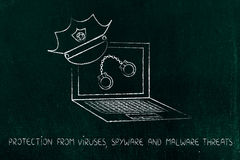 Laptop with police hat & handcuffs, against piracy or cyber cri Stock Photo