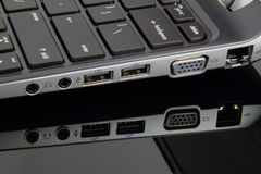 Laptop Ports. Various input and output ports on a laptop Royalty Free Stock Photography