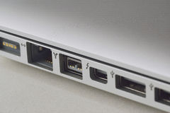 Laptop ports. A side view of the available ports on a business laptop Stock Image
