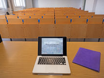 Laptop with presentation in the auditorium Stock Images
