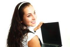laptop pretty woman Стоковое Фото