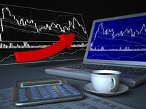 Laptop and price chart. Stock Photos