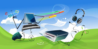 Laptop, Printer, Papers Illustration Royalty Free Stock Photo